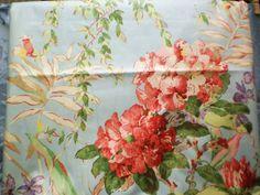 Kaufman Yardage Tropical Floral Chintz Designer Drapery Fabric Robins Egg Swedish Blue $36
