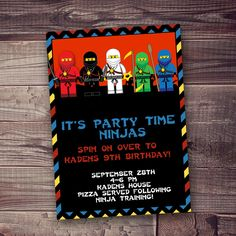Ninja INVITATION with free wording personalization by AmysSimpleDesigns on Etsy https://www.etsy.com/listing/167267375/ninja-invitation-with-free-wording