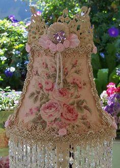"Romantic Shabby Roses Barkcloth Lampshade Aurora Beads ""English Garden Motif"" Rare"