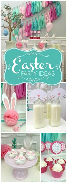 Here's an idea for a simple and cute Easter dessert table! See more party ideas at CatchMyParty.com!