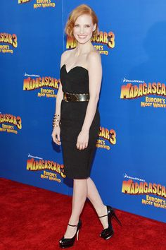 """Decades' Golden Moments - Best Celebrity Vintage Red Carpet Moments: Jessica Chastain in YSL at the """"Madagascar 3"""" premiere"""