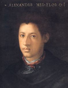Alessandro de' Medici (1510-1537) ruled Florence as its first Duke. The illegitimate son of Cardinal Giulio de' Medici and an African slave, he was called il Moro, the Moor. Alessandro had two children Giulio and Giulia with his mistress Taddea Malespina and through them the majority of the Italian noble houses are descended. There are many portraits of the Duke including Cristofano dell'Altissimo's (1525–1605) painting from the Giovio Series.