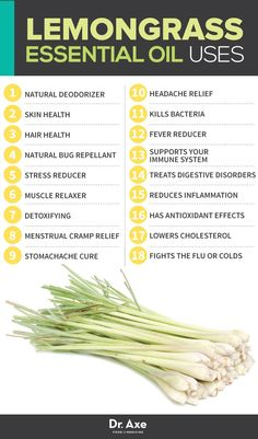 Lemongrass Oil Uses --//-- lots of good info! Dr Alarie suggested to use I with pan away for my back.