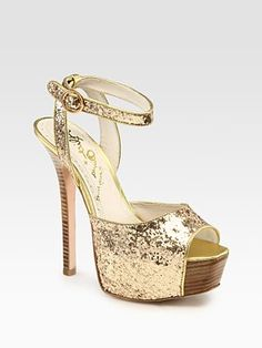Alice + Olivia  Lansey Glitter-Coated Metallic Leather Peep Toe Platform Sandals