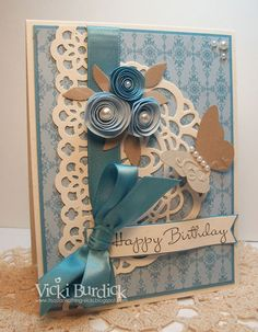 Gorgeous Birthday Card...with rolled roses, paper doily, & lace ribbon border.