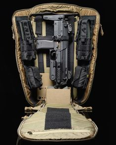 the Arc'teryx Khard backpack fits the H&K MP7 perfectly. Pack organization is by Velocity Systems. They make insets for the Khard backpacks. Check them out here https://www.velsyst.com/store/arc-teryx-leaf-khard-inserts.html.