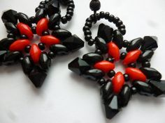 Red and Black SuperDuo Star Earrings. Could make in ANY team colors.