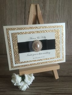 Luxurious ivory, gold and black postcard invitation each Invitation Examples, Postcard Invitation, Color Schemes, Wedding Invitations, Ivory, Frame, Gold, Black, Design