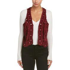 Raga Esmeralda Vest ($53) ❤ liked on Polyvore featuring outerwear, vests, maroon, sweaters, pattern vest, vest waistcoat, maroon vest, open front vest and red waistcoat