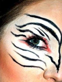 Zebra Halloween Makeup Tips and Tutorials Zebra Makeup, Bird Makeup, Animal Makeup, Mermaid Makeup, Mermaid Hair, Cat Halloween Makeup, Halloween Make Up, Halloween Ideas, Halloween Costumes