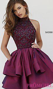 Buy Short High Neck Sherri Hill Homecoming Dress at PromGirl