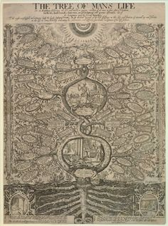 """The Tree of Man's Life, or an Emblem declareing the like, and unlike, or various condition of all men in their estate of Creation, birth, life, death, buriall, resurrection, and last Judgement."" (sic) 1639"