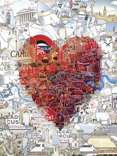 Portrait Illustration Image of London: The Capital of Romance (Limited edition fine art prints) - A heart formed by the actual map of London area. Initially created as an Illustration for the St.Valentine's special issue of Evening Standard. Collage Kunst, Map Collage, Heart Collage, Love Collage, Collage Art Mixed Media, Magazine Collage, Magazine Art, Magazine Crafts, Art Watercolor