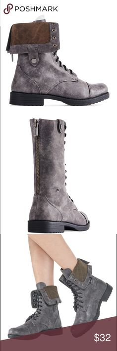 JustFab 'Briony' combat boot *EUC* Cute grey distressed boots. Cool vintage style lace-up boot with top lacing hooks. Top snap detail. Only worn once, not broken in. No signs of wear. Dollhouse Shoes Combat & Moto Boots