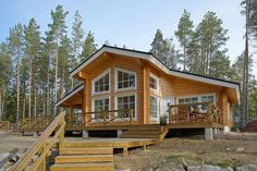 Log Home - Kuusamo Log Houses Style At Home, Lincoln Logs, House Made, House In The Woods, Log Homes, Future House, Cottage, Architecture, House Styles