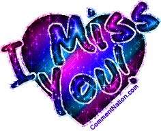 Glitter graphic of a rainbow colored heart with the comment: I Miss You! Glitter Text, Glitter Hearts, Purple Glitter, Cute Missing You Quotes, Sexy Love Quotes, Romantic Good Morning Messages, Miss You Images, Beautiful Love Images, Love Is Cartoon