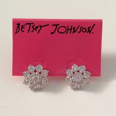 Betsey Johnson Crystal Flower Earrings So stunning! Catches rays of sun perfectly, very glitzy! Brand new and in perfect condition. Post back. The earrings are a little over a half inch. Light weight and I'm sure they are comfortable. No trades or Paypal Betsey Johnson Jewelry Earrings