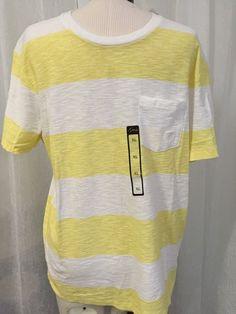 Guess Super Soft White Yellow Tobias Striped Men's T-Shirt Slim Fit Size XL New! #Guess #BasicTee