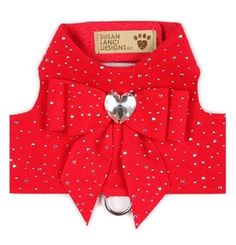 Red Bailey II Harness - Silver Stardust & Tail Bow Heart