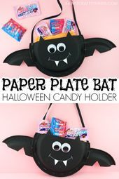 Paper Plate Halloween Candy Holder Dulceros Halloween, Bonbon Halloween, Halloween Crafts For Kids To Make, Halloween Art Projects, Adornos Halloween, Manualidades Halloween, Halloween Activities, Fun Crafts For Kids, Halloween Sweets