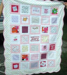 Baby Clothes Quilt - be a cute idea to make one of your kids baby clothes to give to that child for their baby :)