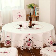 Hoomy Embroidered Floral Tablecloths Off White Cutwork Table Cloth Hollow Rectangular Table Overlays Modern Table Covers for Dinning Table Lace Tablecloth Wedding, Floral Tablecloth, Vinyl Tablecloth, Round Tablecloth, Floral Fabric, Floral Lace, Round Table Covers, White Round Tables, Dining Table Cloth