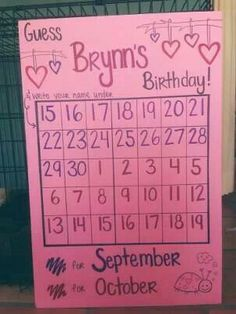 Cute baby shower game.. create a calender of the month of your due date.. then have your guest guess a day that they think the baby will arrive..