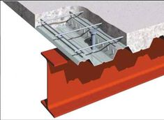 Reinforced concrete cast onto steel decking, supported by beams or load bearing walls.