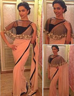 The hottest new trend on the shelf is the capes. Deepika Padukone wore this minimalistic pink saree with a beautiful cape blouse during promotion of Bajirao Mastani. Cape Blouse looks sensual and are sure to grab attention in any party Indian Wedding Guest Dress, Indian Bridal, Latest Saree Blouse, Saree Blouse Designs, Blouse Patterns, Lehenga Blouse, Choli Designs, Ghagra Choli, Indian Dresses