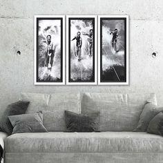 Vintage Water Ski Splash Framed Prints - Set of Three room example Water Ski, Lakeside Living, Bathing Beauties, Skiing, Photo Wall, Framed Prints, Wall Decor, Black And White, Beach House