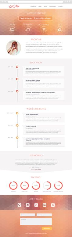 Beautiful resume design by Cristina Stela, via Behance.   Visit my website at www.paulruocco.com