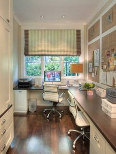 Home office for two layout idea, via design art house. Efficient use of narrow space.
