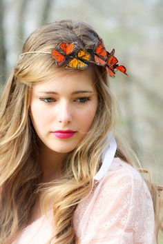 Gold and Red Monarch Butterfly hair crown via Etsy.