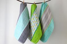 Baby Burp Cloth Gift Set of 3 Grey Aqua and Lime by owesley