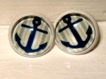⚓⚓Ohrstecker weiß mit blauem Anker - Maritime ⚓⚓