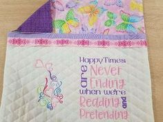 Reading Pillow Machine Embroidery Design Happy Times