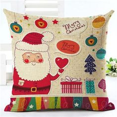 Home Decorative Throw Pillowcase Merry Christmas Cartoon Cotton Linen Cushion Cover Santa Claus Pillowcase For Child Gift