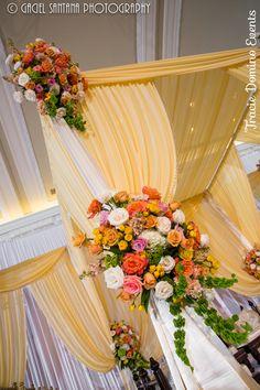 Indian Wedding - Yellow and Coral{Planner: Tracie Domino Events, Decor: Suhaag Garden, Photographer: Gaciel Santana Photography} #southasianwedding #mandap #maharani #hindu #Florida #StPete #Tampa #Vinoy
