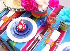 A Mexican Fiesta table setting...fun