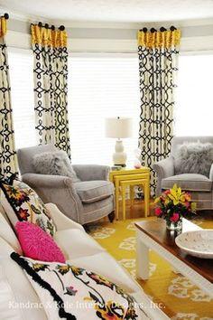 Pink, Yellow and Grey Family Room - contemporary - family room - atlanta - by Kandrac & Kole Interior Designs, Inc.
