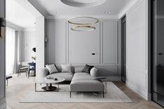 Grey neoclassical interior with colourful accents. A family home with unique kids rooms, a neoclassical style lounge, metallic kitchen, and a bijou dining room. Neoclassical Interior Design, Grey Interior Design, Modern Interior, Neoclassical Architecture, Gray Dining Chairs, Dining Room Walls, Pink Bedroom Accessories, Casa Milano, 3d Max Vray