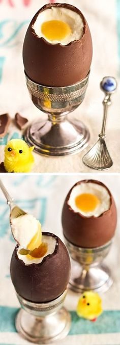 Cheasecake-fyldte chokolade påskeæg #karenvolf #påske #cheasecake #inspiration #dessert #påskefrokost