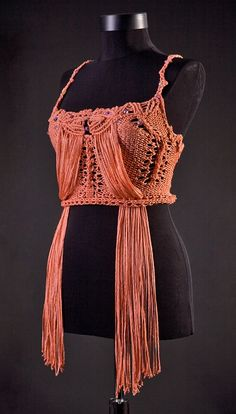 macrame dresses on etsy | Amazing TRENDY PEACH Macrame knitted top by uniquastudio on Etsy