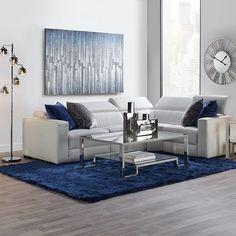 Sapphire Verona Living Room Inspiration look on Silver Living Room, Blue Living Room Decor, Glam Living Room, Living Room Sofa, Home And Living, Living Room Designs, Condo Living, Modern Living, Living Rooms