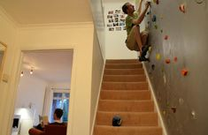 For those who don't like climbing the stairs, this indoor home climbing wall is a great option! Um, I think this would fit right in at my house :) Future House, My House, Story House, Home Climbing Wall, Indoor Climbing, Stair Climbing, Climbing Holds, Rock Climbing Gear, Take The Stairs
