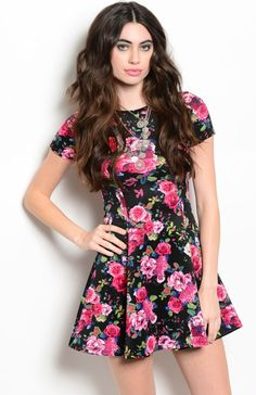Floral Cap Sleeve Fit & Flare Cocktail Dress