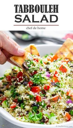 Traditional Tabbouleh Salad recipe made with bulgur (whole grain cracked wheat) tomatoes herbs and olive. Bring to potluck pack for lunch or serve on side with favorite Mediterranean Meal. This salad fits perfectly in all roles. Tabouli Salad Recipe, Salad Recipes, Couscous Recipes, Tahini, Vegetarian Recipes, Cooking Recipes, Healthy Recipes, 5 A Day Recipes, Dining
