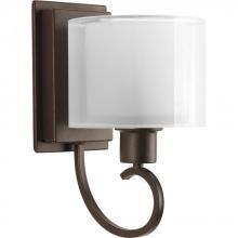 Progress P2041-20 - One Light Antique Bronze White Glass Bathroom Sconce