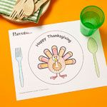 I just found these free printable Thanksgiving Placemats that I can't wait to use for the kids' table! The plate, cup and silverware are shown on the placemat so they're great for having the kids help set the table. They can also draw on them while wait for their food!