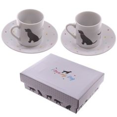 Shop today for Set of 2 Espresso Cup and Saucer - I Love My Dog by weeabootique !
